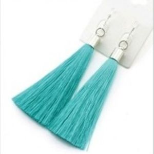 Turquoise and Silver Tassel Earrings